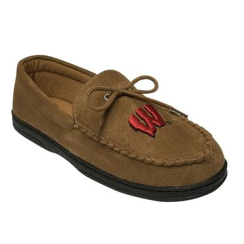 Wisconsin Badgers Microsuede Moccasins - Men's Wide-Width (Brown)