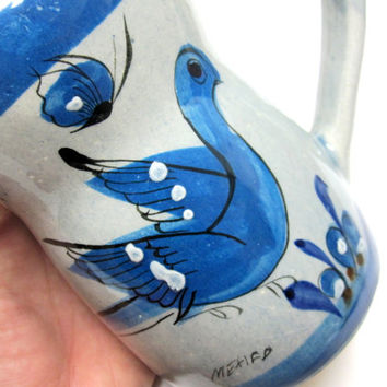 Blue White Gray Pitcher Creamer Tonala Bird Mexican Pottery Signed