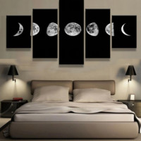 Lunar Cycles 5 Piece Canvas Set