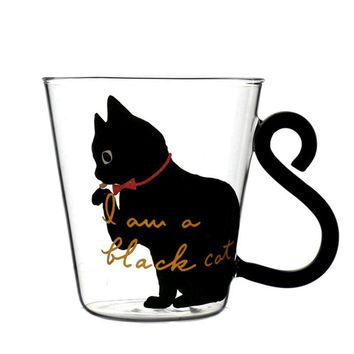 Cute Creative Cat Kitty Glass Mug Cup Tea Cup Milk Coffee Mup Breakfast Cup Meow Tumbler MCG043