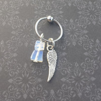 Tiny Wing - Opalite - 16G CBR Cartilage Captive Piercing Ring