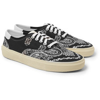 Saint Laurent - Leather-Trimmed Printed Canvas Sneakers | MR PORTER