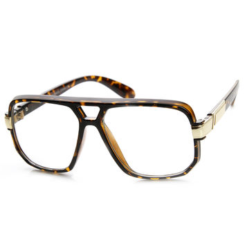 Retro 1980's Classic Square Frame Hip Hop Clear Lens Glasses 8975