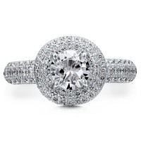 Sterling Silver 925 Clear Round Cubic Zirconia CZ Micro Pave Halo Ring #r468