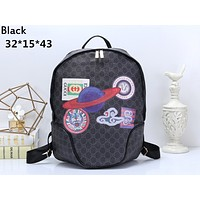 GUCCI 2019 new retro men and women models double G printing casual backpack Black