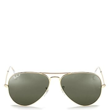 Cheap NEW Genuine Ray-Ban RB3025-001/58 Unisex AVIATOR CLASSIC Gold Polar Sunglasses outlet
