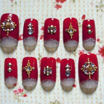 Red Moonicure / Half Moon False Nails with Silver Glitter, Embellished with Gold Studs and Beads, and White Rhinestones