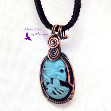 Resin Skull Cameo Necklace Copper Wire Wrapped Pendant Bohemian Jewelry, Hand Wrapped, , Steampunk, Industrial, Wirewrap Christmas Gift
