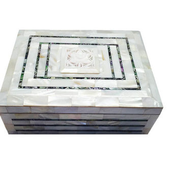 Handmade Handcraft  Mother of Pearl Jewellery Box High Quality Rectangular Shape