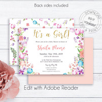 Floral Baby Girl Shower Invitation Template, It's a Girl Baby Shower, Boho Watercolor Printable Invitation, Printable Baby Girl Shower