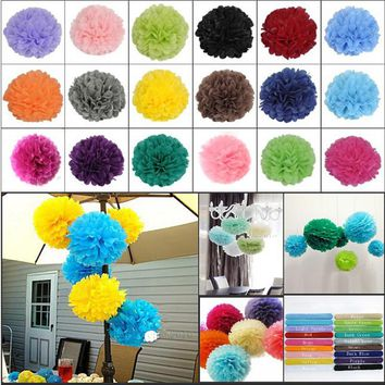 5pcs*14 inch (35 cm) Tissue Paper POMPOMS Flower Balls Home Decor Festive & Party Supplies Wedding Favors