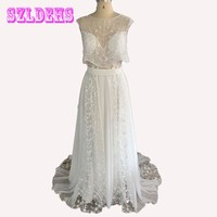 2017 Lihi Hod Two Pieces Wedding Dress Sweetheart Cap Sleeve Pearls Beading Lace Chiffon Boho Bohemian Beach Wedding Gowns