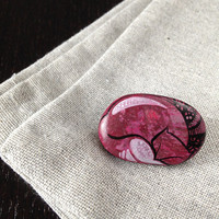 Pink cat brooch - Handmade accessoire handpaited on stone - Numbered mixed media original