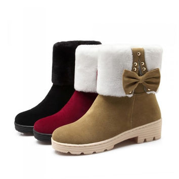 Womens Stylish Fur Winter Mid Boots
