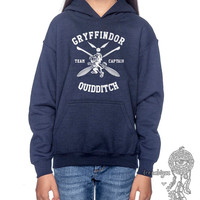 Gryffindor Quidditch team Captain WHITE printed on Navy YOUTH / KIDS Hoodie