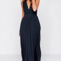 LULUS Exclusive In Your Dreams Navy Blue Maxi Dress