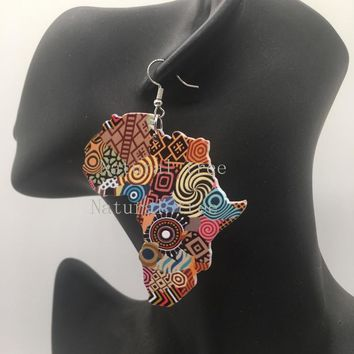 Africa Map Wooden Earrings