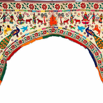 vintage tribal banjara Large door valence, mirror work antique door tooper, hand embroidered kutchi door valence,