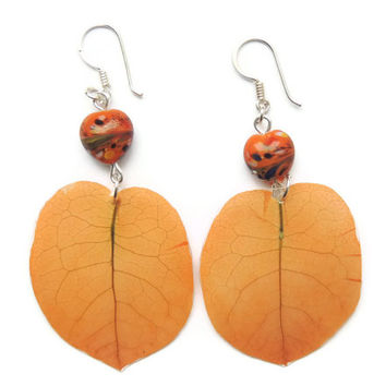 Orange Bougainvillea earrings Petal jewelry by AmazoniaAccessories