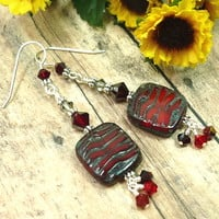 Czech Ruby Travertine and Swarovski Crystal Sterling Silver Earrings
