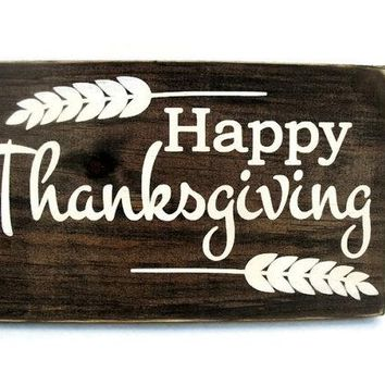 Happy Thanksgiving Rustic Wood Sign (#1215)