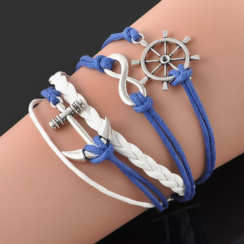 Fashion Jewelry Blue Braided Wristband Bracelet Anchor Rudder Eight word Charms Bracelet Friendship Bracelets