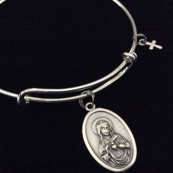 Immaculate Heart of Mary Expandable Bracelet Inspirational Jewelry Adjustable Bangle Catholic Medal Meaningful Gift