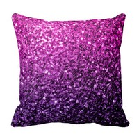 Purple Pink Ombre glitter sparkles Throw Pillow