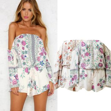 New Fashion Sexy Off Shoulder Flower Print Loose Long Sleeve Romper