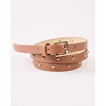 SKINNY MINNIE STUDDED BELT (CAMEL)