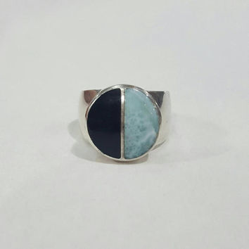 Men ring gemstone silver larimar black coral .925 sterling silver dominican pectolite atlantis stone blue man ring gift mens present size 9
