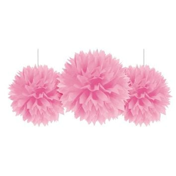Pink Fluffy Decorations 3ct