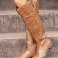 Faux Leather Open Back Riding Boots Tan