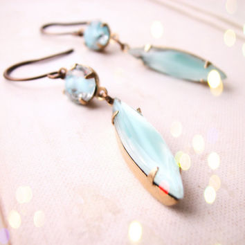Summer jewelry turquoise givre art glass earrings by shadowjewels