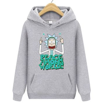 Rick Morty Anime Men Hoodies 2018 New Casual Hoody Rick And Morty Print Men's Hoodies Sweatshirts 100% Cotton 9 Colors