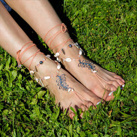 Boho barefoot sandals Beach wedding bare feet sandles Gypsy foot jewelry Hippie footless nude shoes Bohemian anklet Yoga bottomless sandal