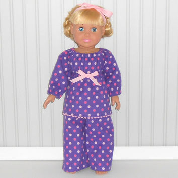 18 inch Doll Purple Flannel Pajamas with Pink Polka Dots Girl Sleepwear American Doll Clothes
