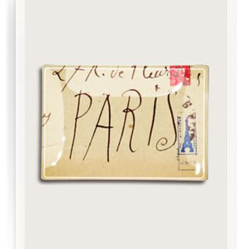 Picasso Script Paris Decoupage Glass Tray