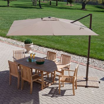 Modern 8.5-Ft Offset Cantilever Square Patio Umbrella with Mocha Shade