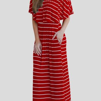 Red-White Striped Ruffle Off Shoulder Pockets Backless Elegant Homecoming Party Maxi Dress