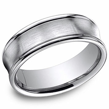 Benchmark 7.5 MM 14K White Gold Comfort Fit Concave Satin Finish Mens Wedding Band