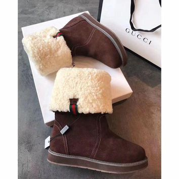 Gucci Snow Wool Boots Brown Women Gaotong Boots Thickened Flat Shoes - Beauty Ticks