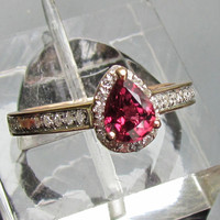 Engagement Ring Pear Shaped Natural African Ruby in 14k Rose Gold Diamond Halo Ring July Birthstone Gemstone Jewelry