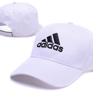 White  Adidas Embroidered Baseball Cap Outdoor Hat