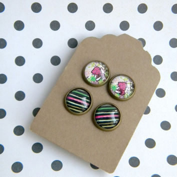 Floral and Mushrooms Earring Studs Set