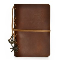 European Style Retro Handmade Refillable Leather Notebook Travelers Journal (Brown4)