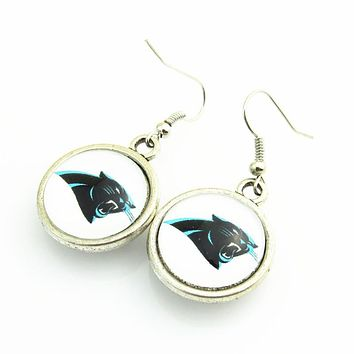 High Quality Double Football Drop Earrings Carolina Panthers Team Logo Drop Earrings For Women Jewelry 10pairs/lot