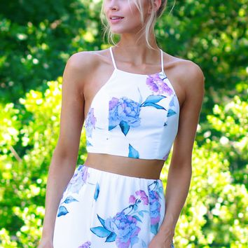 High Neck Floral Crop Tank Off White