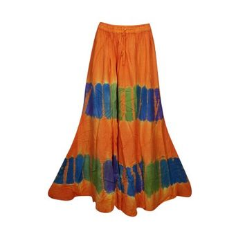 Mogul Womens Orange Tie Dye A-Line Gypsy Long Skirt Rayon Summer Style Hippie Chic Boho Maxi Skirts - Walmart.com