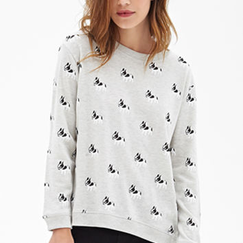 FOREVER 21 Boston Terrier Sweatshirt Heather Grey/White